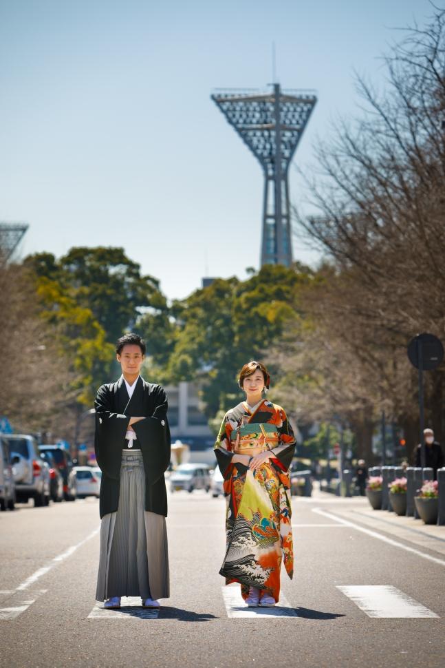 日本大通りで和装ロケーションフォト