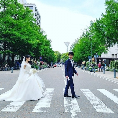 日本大通りでロケーションフォトウェディング