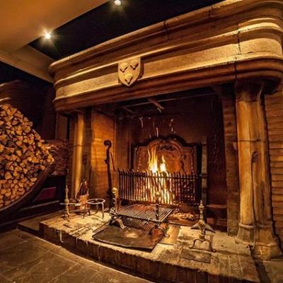 レストランパッションの名物の暖炉
