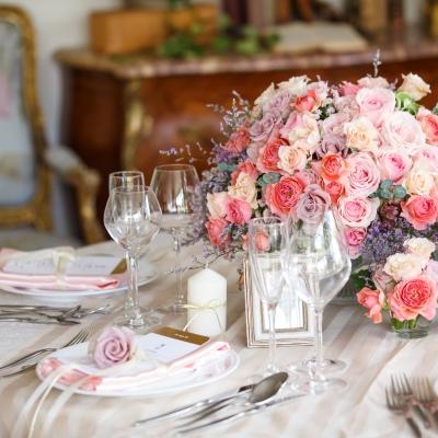 イタリアンレストラン「アンジェパティオ」のテーブルコーディネート