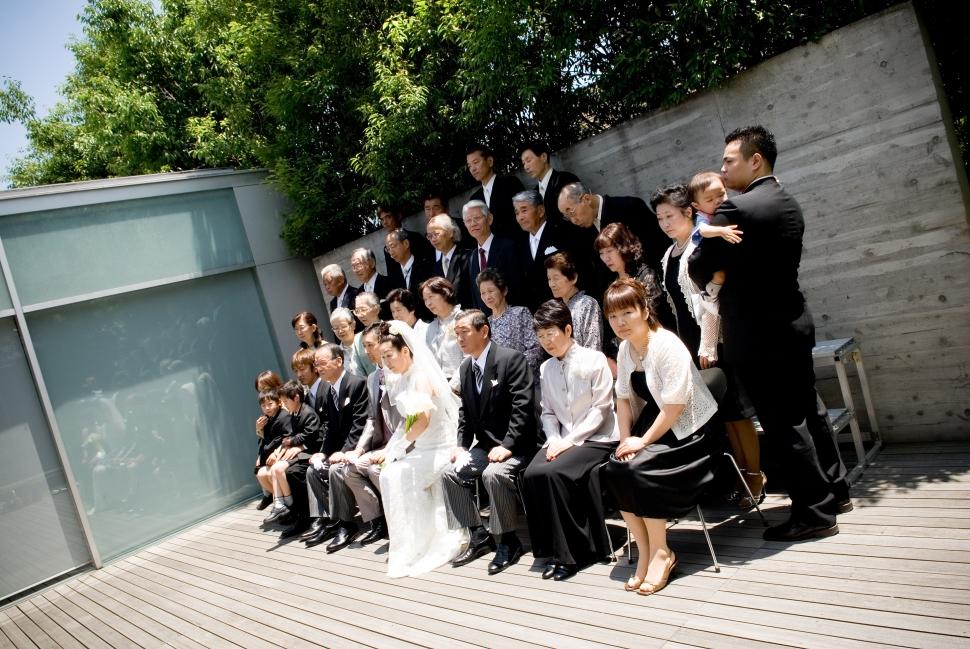 結婚式の家族写真